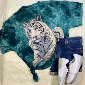 White Tiger Graphic T Shirt Tie Dye Tee 90s